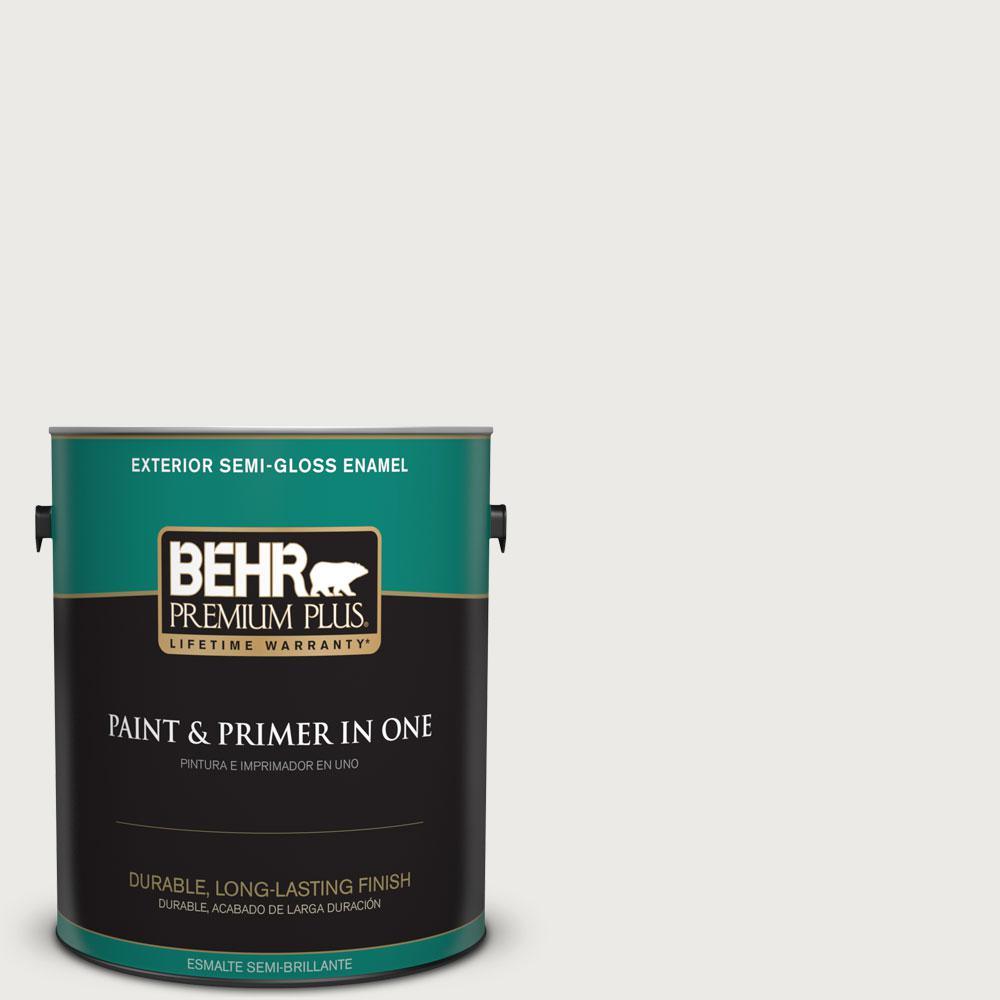 BEHR Premium Plus 1 gal. #52 White Semi-Gloss Enamel Exterior Paint