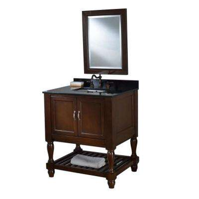 Mission Turnleg Spa 32 in. Vanity in Dark Brown with Granite Vanity Top in Black and Mirror