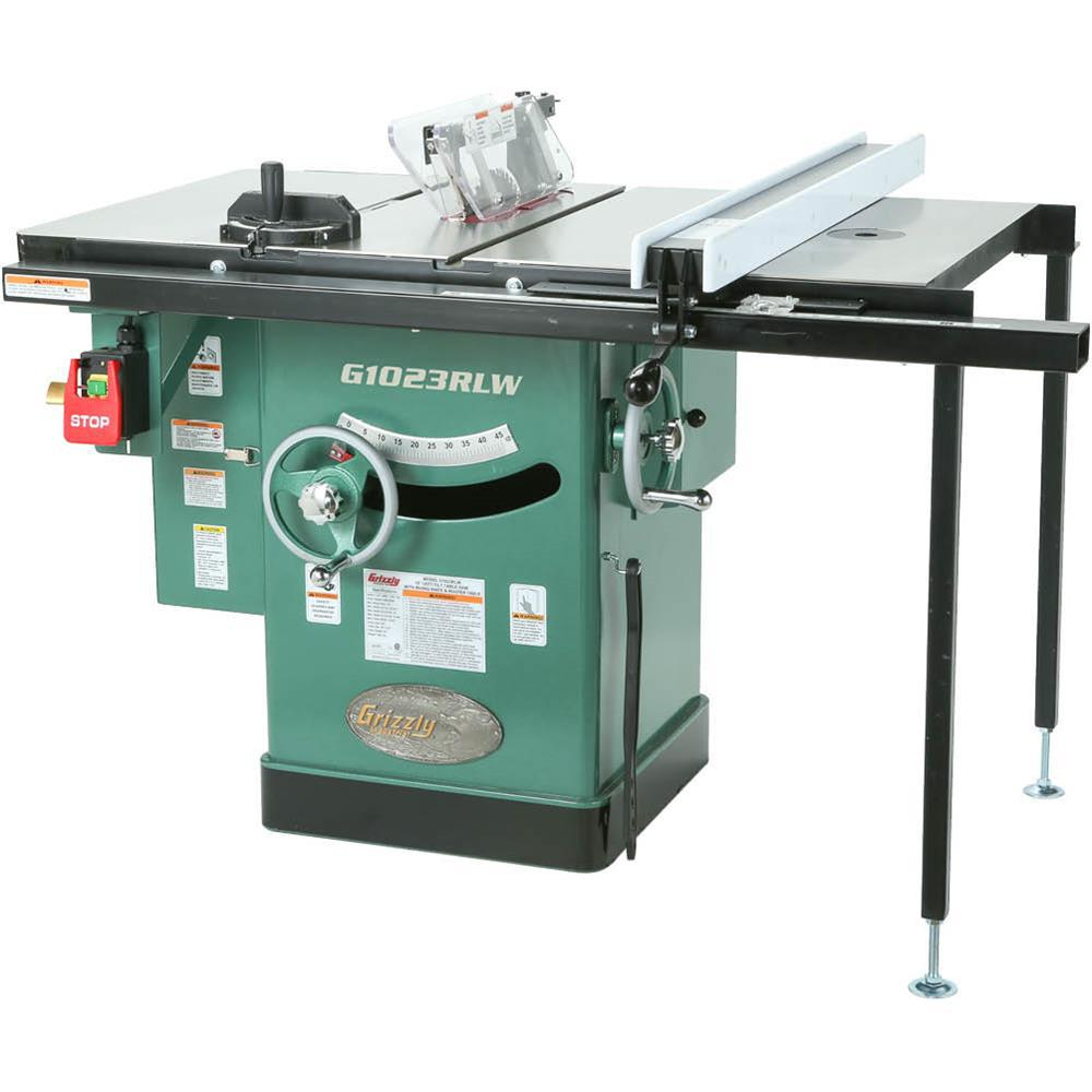 Grizzly Industrial 10 inch 3 HP 240-Volt Cabinet Left-Tilting Table Saw