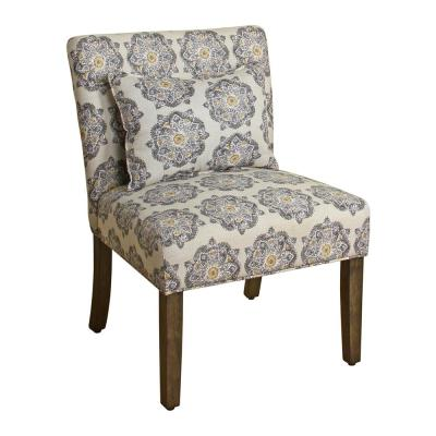 Parker Printed Gray Medallion Pattern with Matching Lumbar Pillow Accent Chair