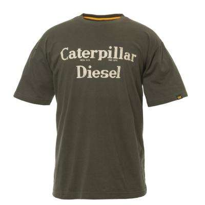 Diesel Men's 2X-Large Army Moss Cotton Short Sleeved T-Shirt