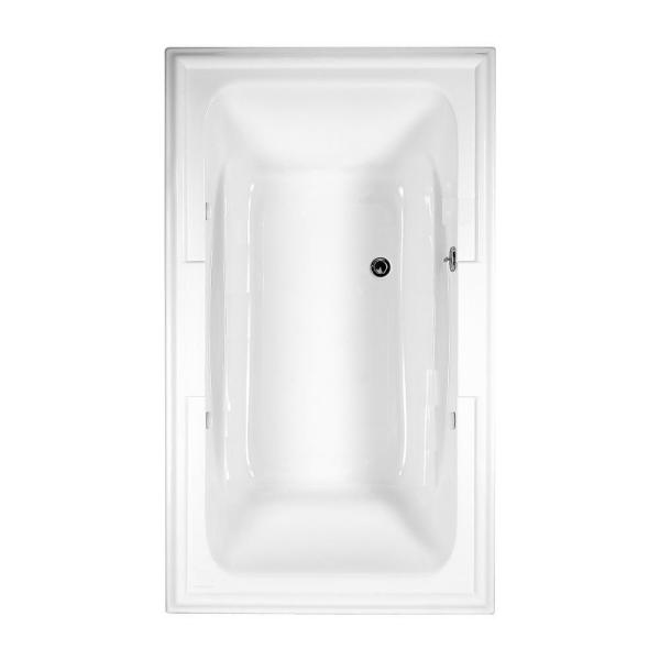Town Square 6 ft. x 42 in. Center Drain Soaking Bathtub in Arctic White
