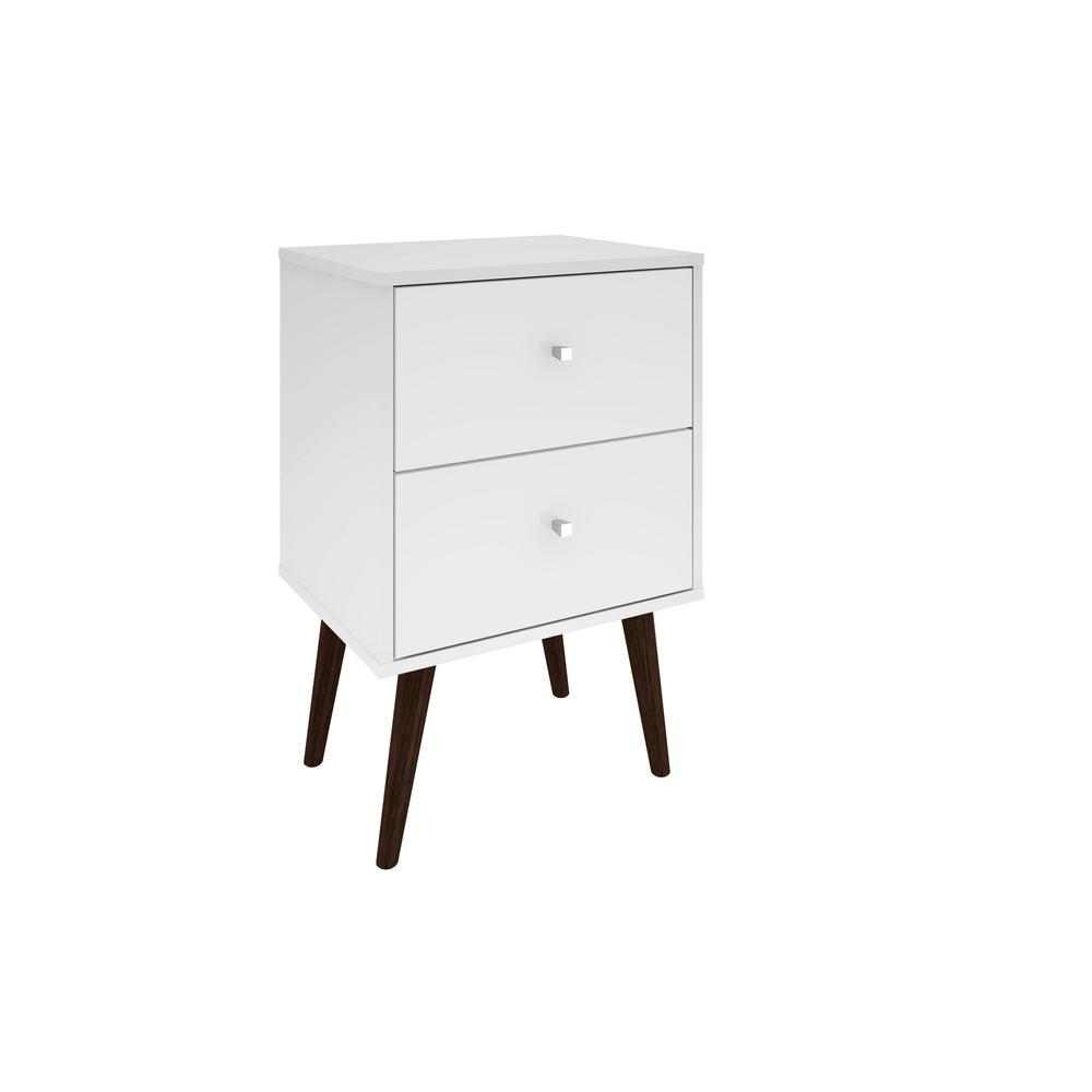 Manhattan comfort liberty mid century white modern nightstand 2 0 with 2 full extension drawers with