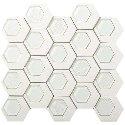 Catalyst Garnet Matte 12.6 in. x 13.62 in. x 8mm Cast Stone Mesh-Mounted Mosaic Tile (1.19 sq. ft.)