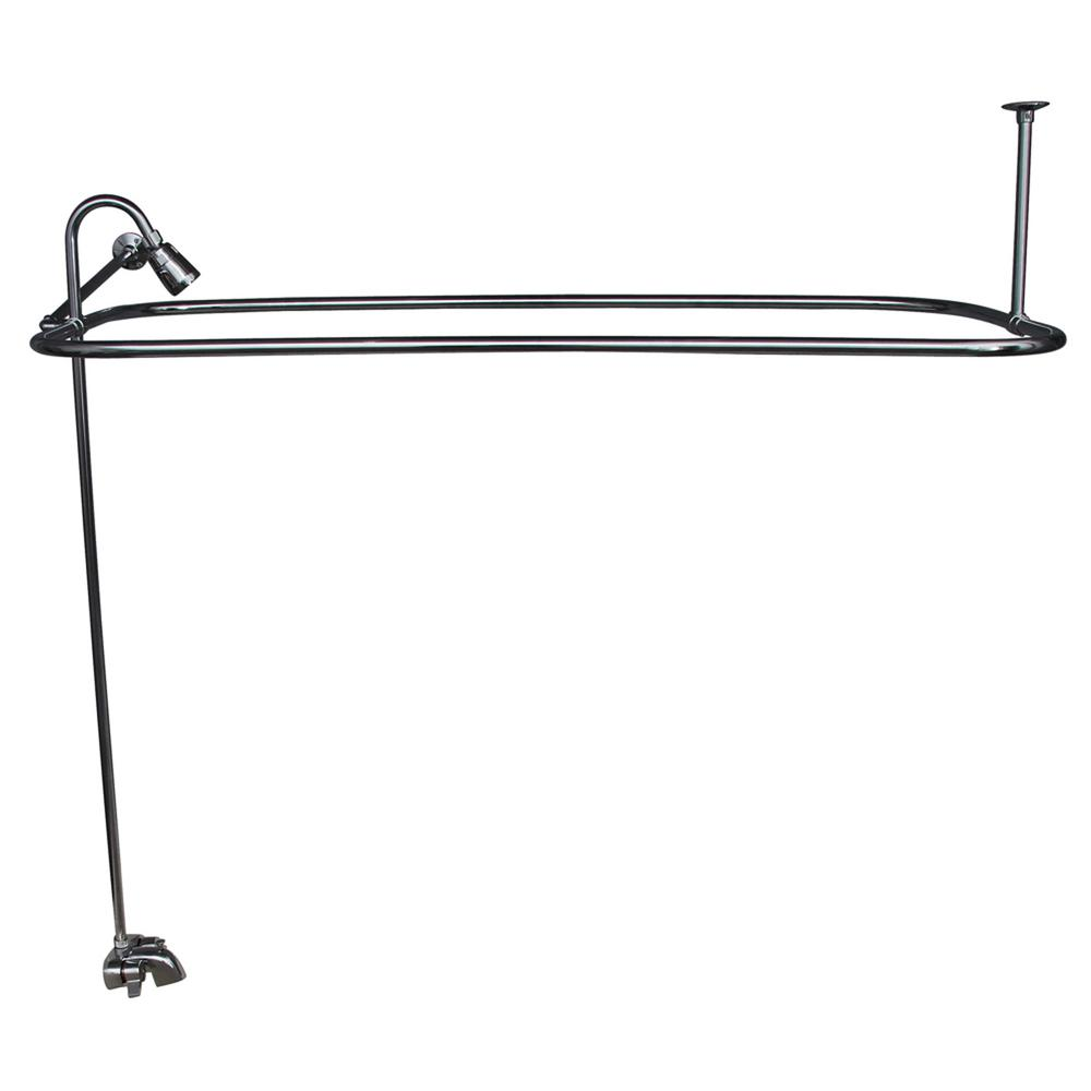 Metal Lever 2-Handle Claw Foot Tub Faucet with Riser, Showerhead and
