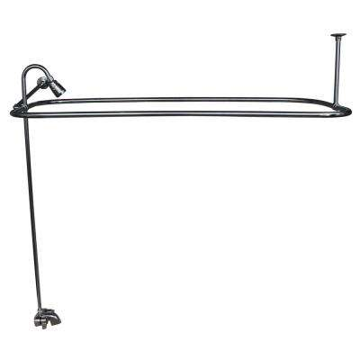 Metal Lever 2-Handle Claw Foot Tub Faucet with Riser, Showerhead and 48 in. Rectangular Shower Unit in Chrome