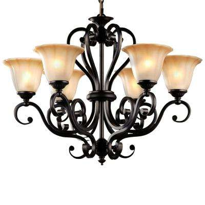 6-Light Black Chandelier with Glass Shade
