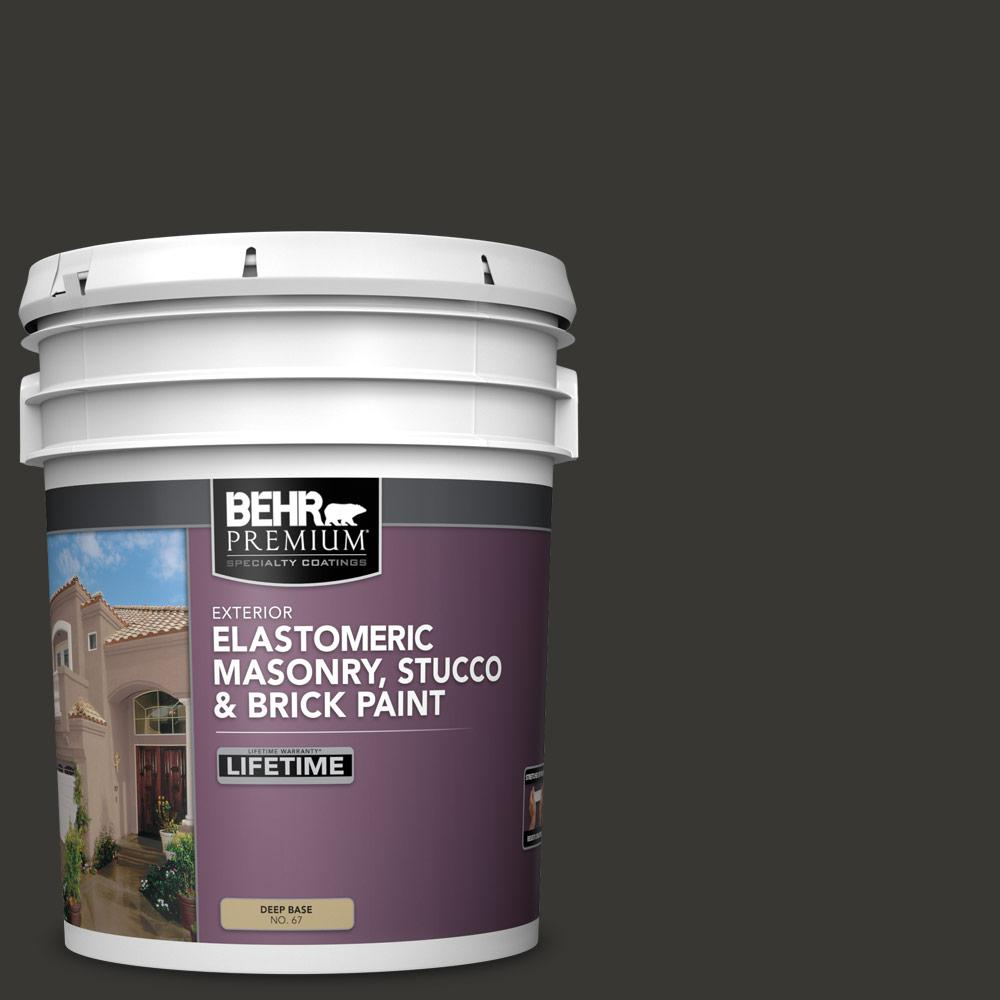 BEHR PREMIUM 5 gal. Black Elastomeric Masonry, Stucco and Brick Exterior Paint