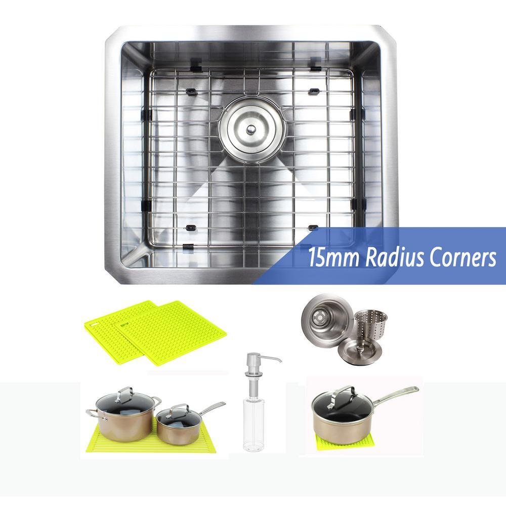 Undermount 16-Gauge Stainless Steel 17 in. x 15 in. x 9 in. Single Bowl Kitchen Sink Combo