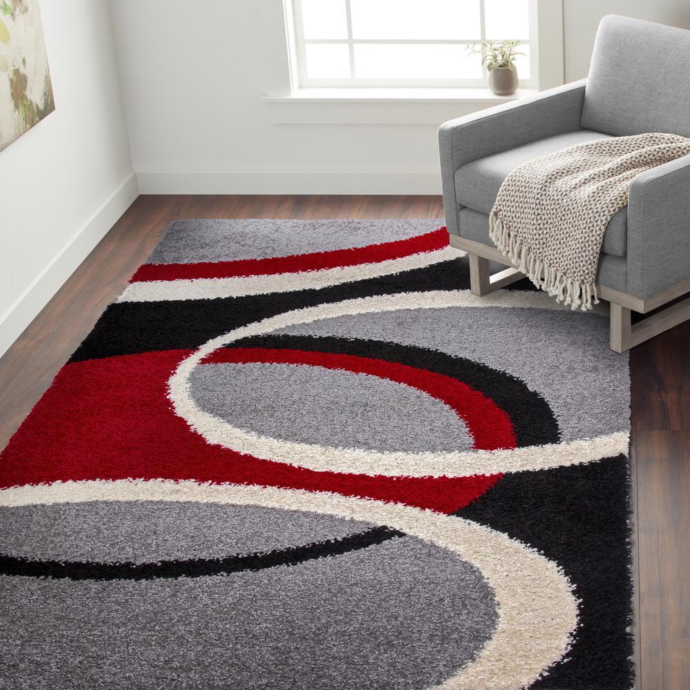Cozy Shag Contemporary Geometric Circles Area Rug 5' x 7' Red