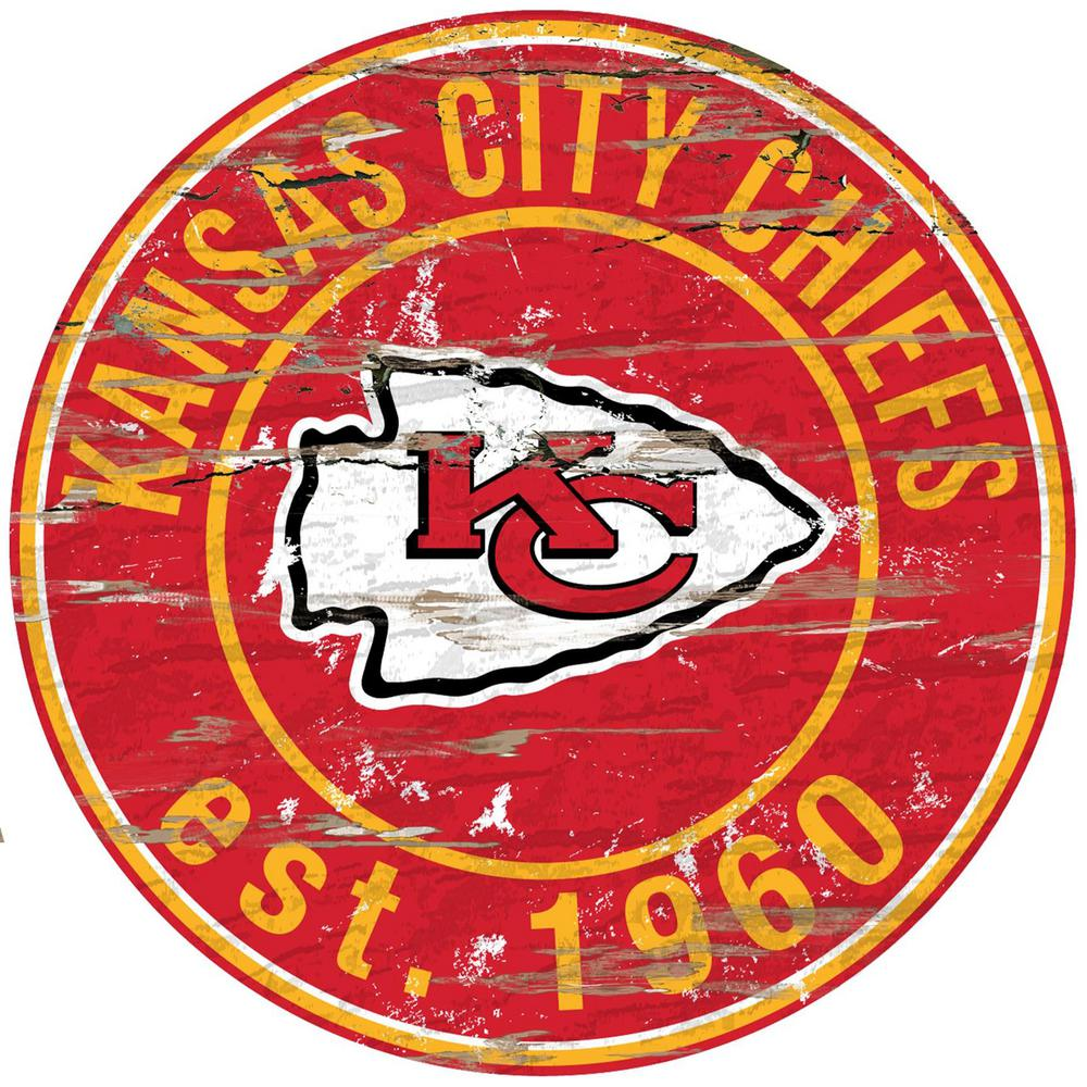 "24"" NFL Kansas City Chiefs Round Distressed Sign"