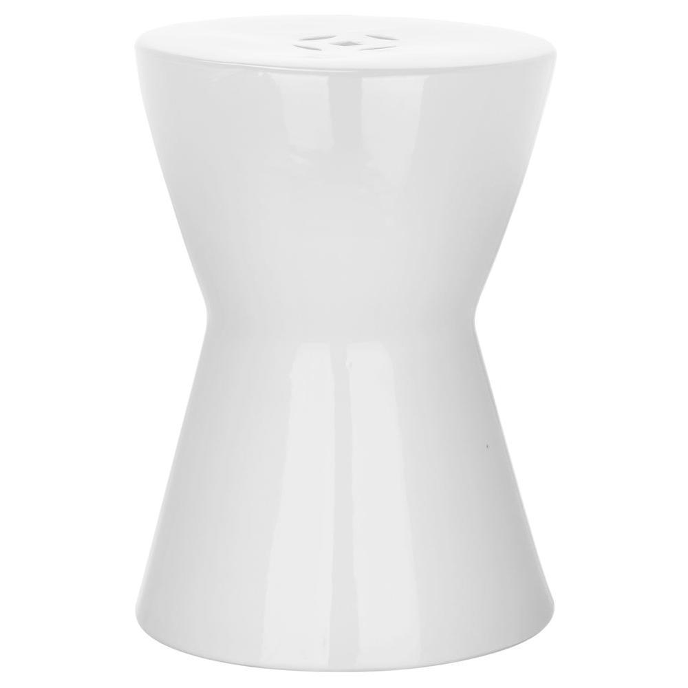 Liana White Ceramic Garden Stool