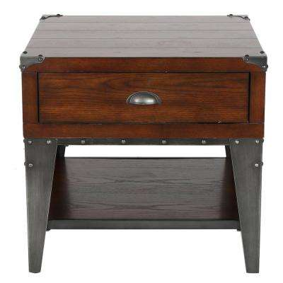 Bordeaux Dark Oak Brown Ash Veneer Side Table with Metal Legs