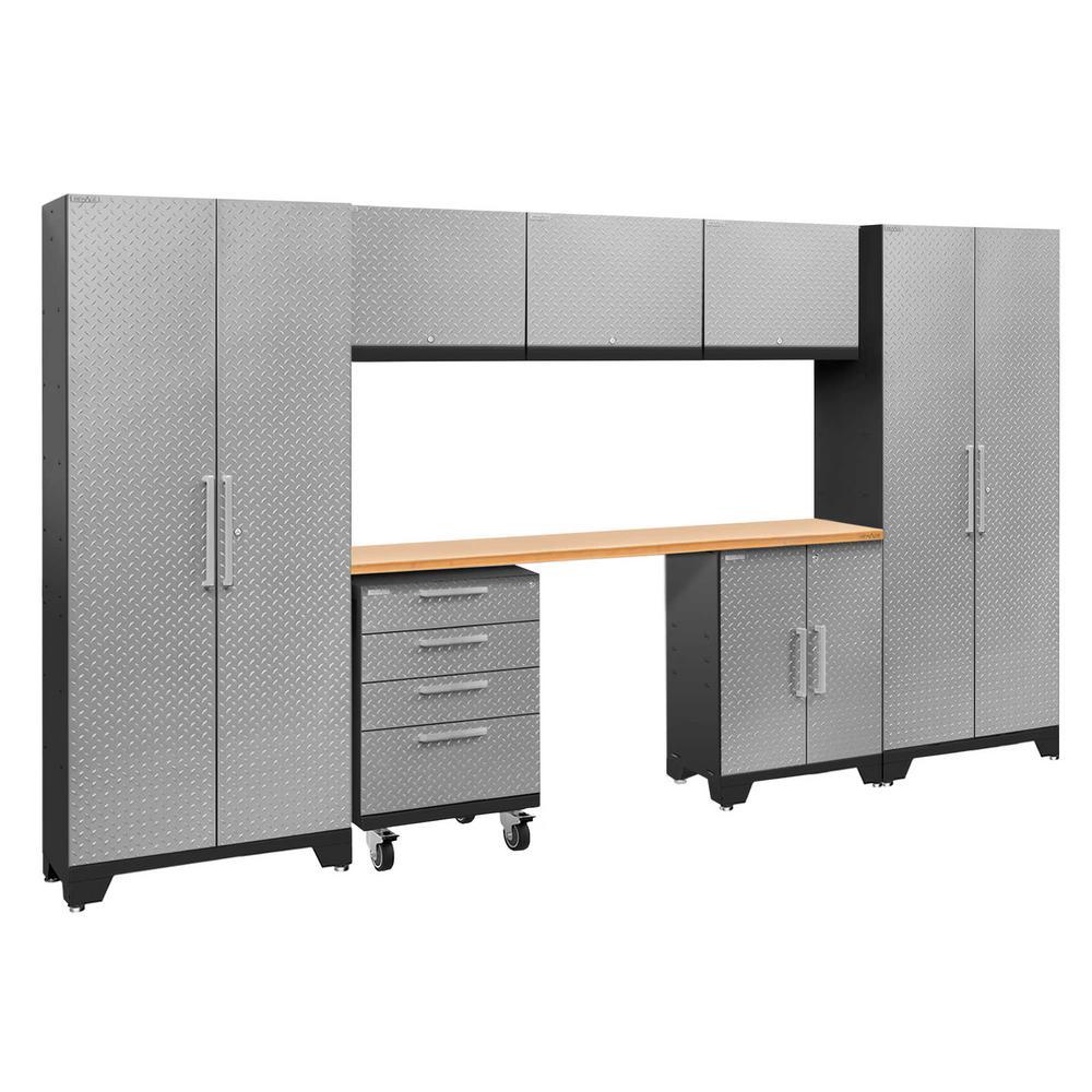 Performance 2.0 Diamond Plate 77.25 in. H x 132 in. W x 18 in. D Steel Bamboo Worktop Cabinet Set Silver (8-Piece)