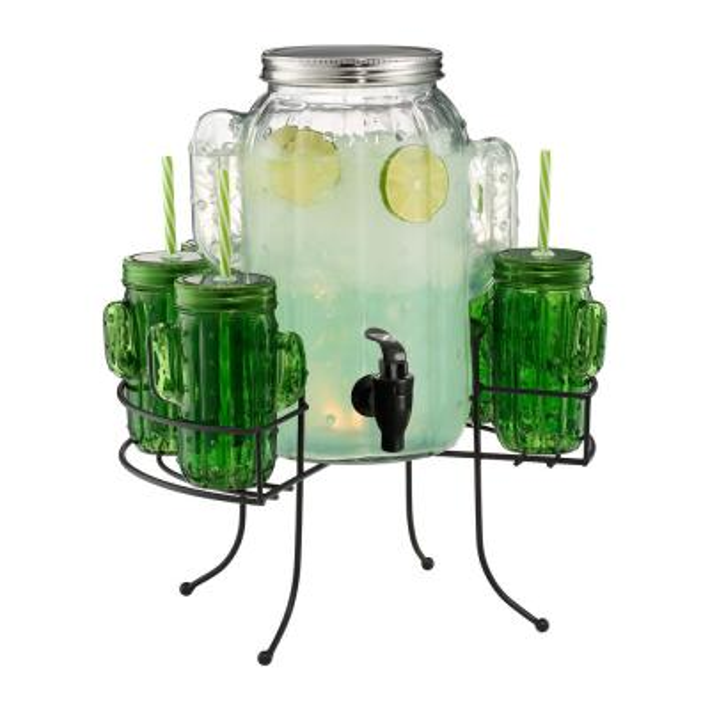 Cactus15 oz. 2 Gal. Beverage Dispenser with 6-Cactus Glasses Gift Boxed