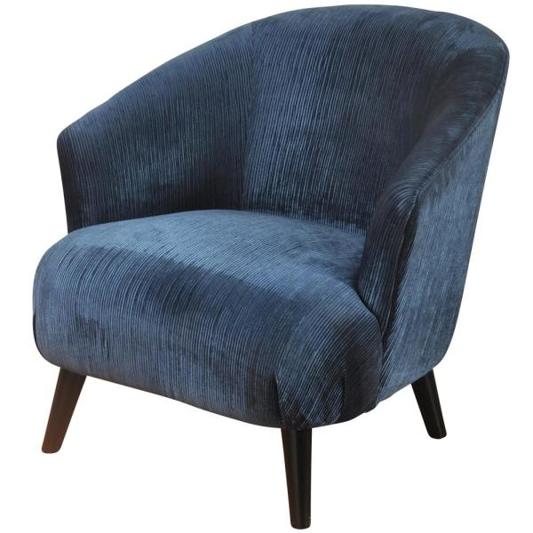 Silk Road Deep Blue Shelter Arm Barrel Back Lounge Chair