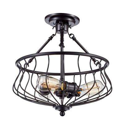 Congress 3-Light Rubbed Oil Bronze Semi-Flush Mount