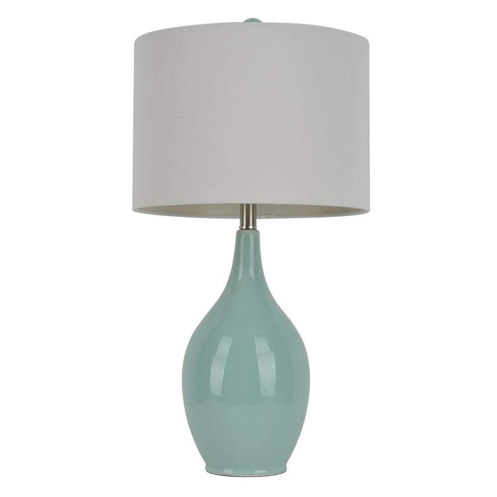 Decor Therapy Anabelle Ceramic 27 In Spa Blue Table Lamp With Linen