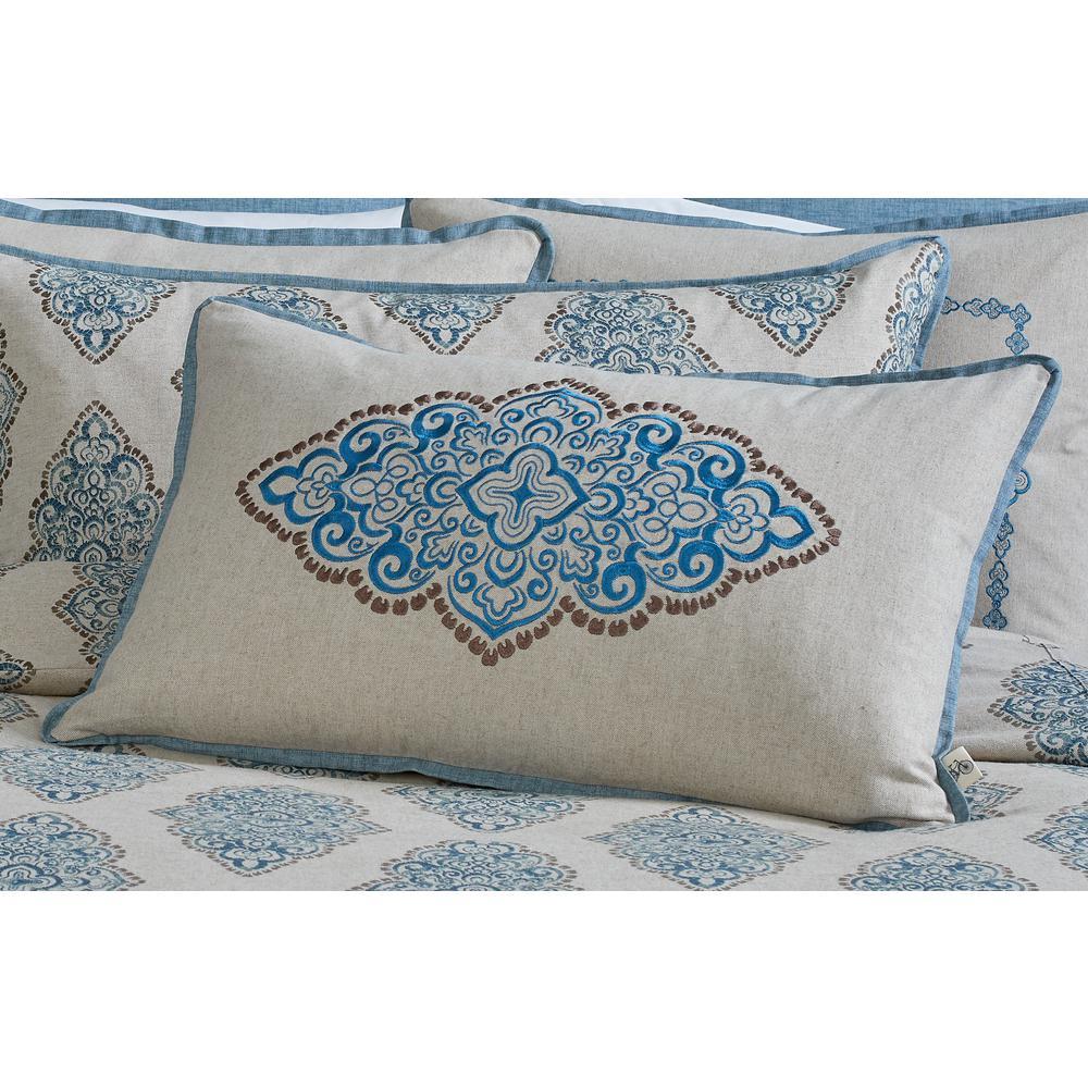 Monroe Embroidered Medallion Bolster Pillow