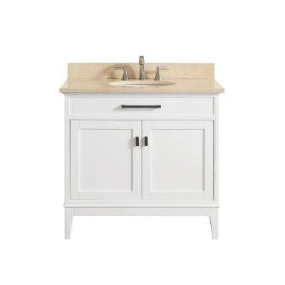 Madison 37 in. W x 22 in. D x 35 in. H Vanity in White with Marble Vanity Top in Galala Beige with White Basin