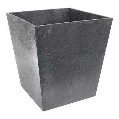 Sonata 11.75 in. x 13 in. Pewter Rubber Self-Watering Planter