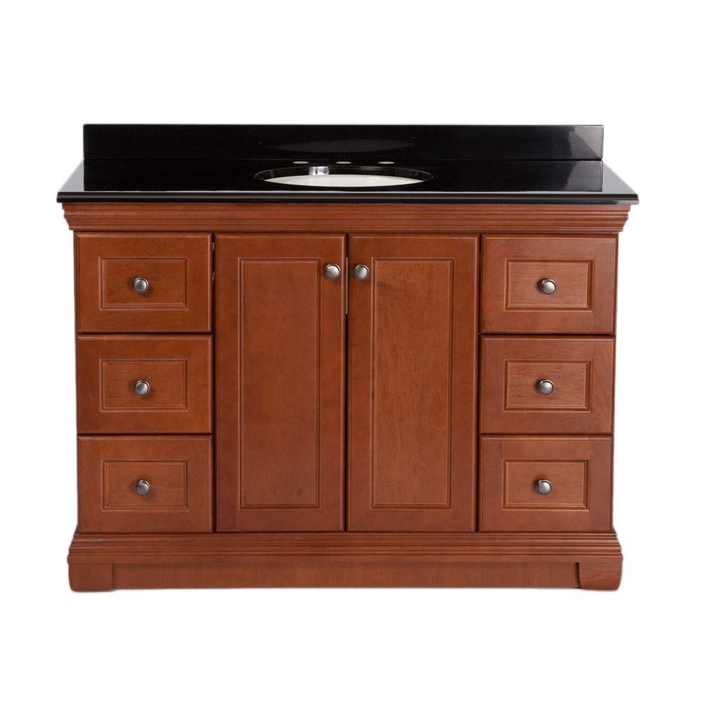 St. Paul Brentwood 48 in. Vanity in Amber with Colorpoint Vanity Top in Black
