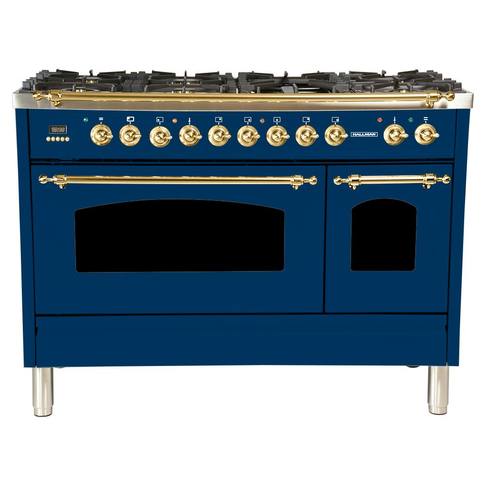 Hallman 48 in. 5.0 cu. ft. Double Oven Dual Fuel Italian Range True Convection, 7 Burners, Griddle, LP Gas, Brass Trim in Blue