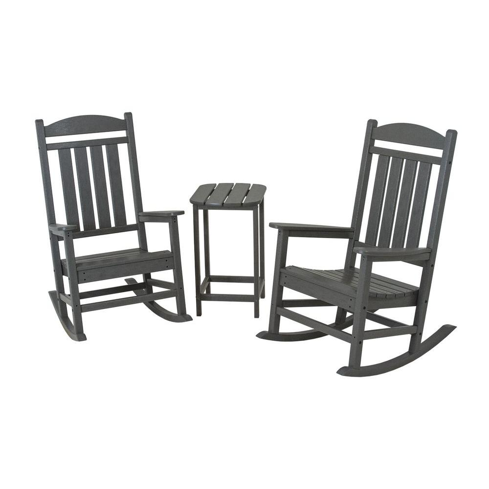 Astounding Polywood Presidential Slate Grey 3 Piece Patio Rocker Set Pdpeps Interior Chair Design Pdpepsorg