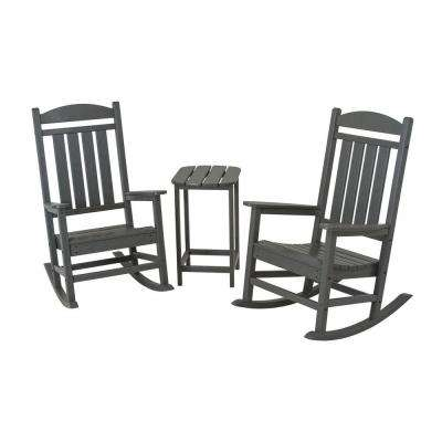 Presidential Slate Grey 3-Piece Patio Rocker Set