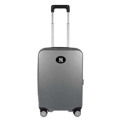 MLB New York Yankees Premium Silver 22 in. 100% PC Hardside Carry-On Spinner w/ Charging Port Suitcase