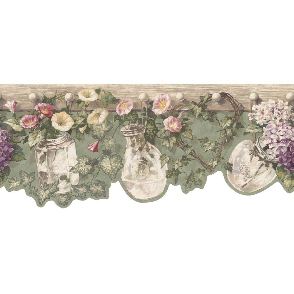 The Wallpaper Company 8 in. x 10 in. Green Die-Cut Floral and Ivy Border Sample-DISCONTINUED