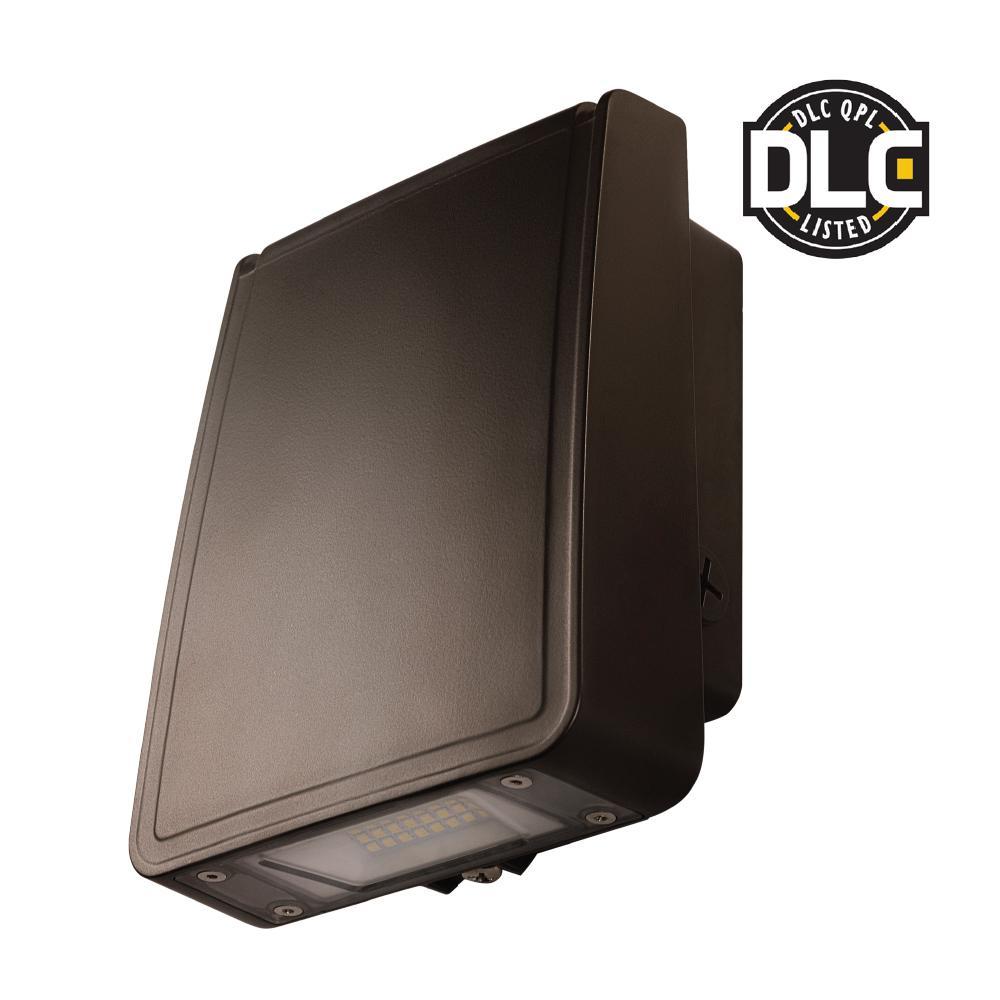 Slim-Profile Dark Bronze Outdoor Integrated LED Wall Pack Light