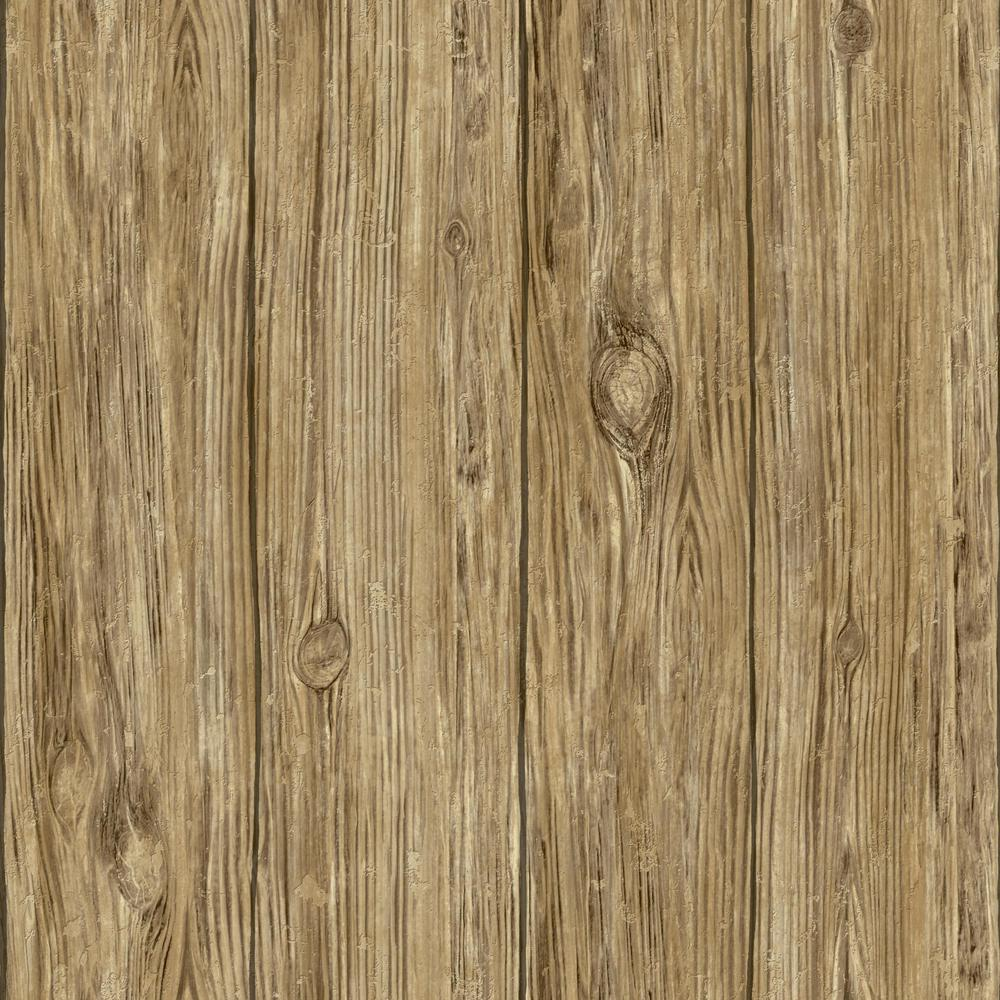 28.18 sq. ft. Brown Mushroom Wood Peel and Stick Wallpaper
