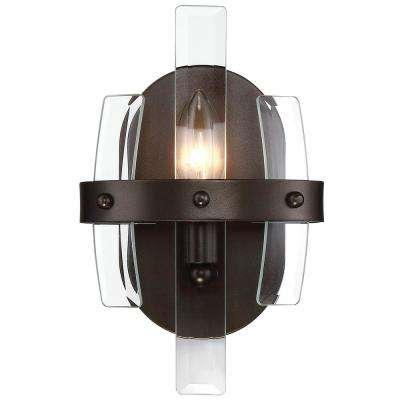 Carson 1-Light Coffee Bronze with Recycled Bent Beveled Glass Bath Light
