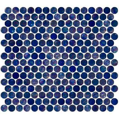 12 in. x 12 in. x 8 mm Tile'ESQUE Penny Round Navy Blue Iridescent Glass Mesh-Mounted Mosaic Tile