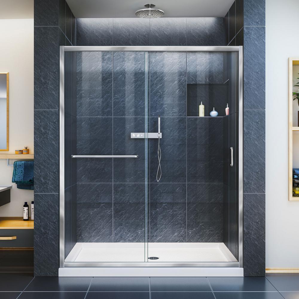 Infinity-Z 32 in. x 60 in. Semi-Frameless Sliding Shower Door in Chrome with Center Drain White Acrylic Base