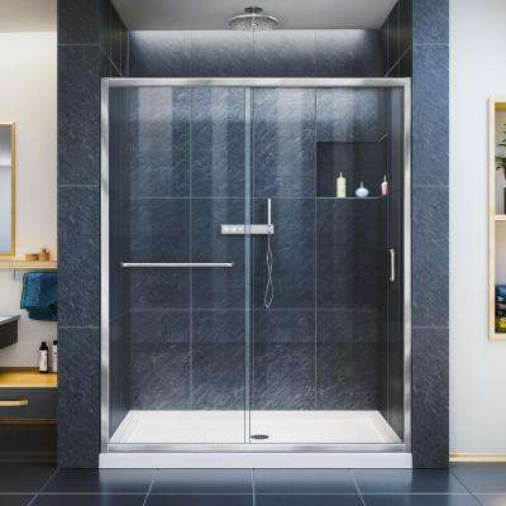 Infinity-Z 34 in. x 60 in. Semi-Frameless Sliding Shower Door in Chrome with Center Drain White Acrylic Base