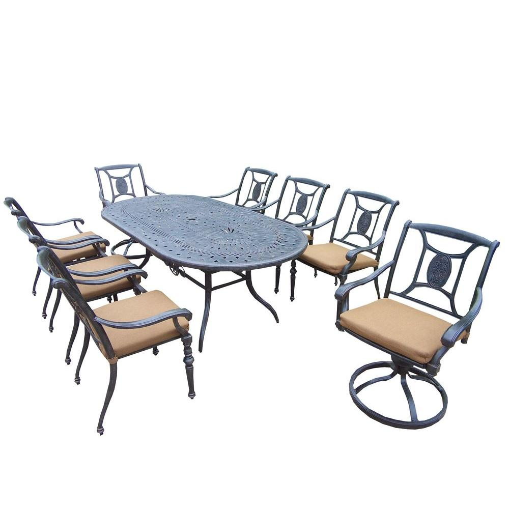 Cast Aluminum 9-Piece Oval Patio Dining Set with Sunbrella Cushions