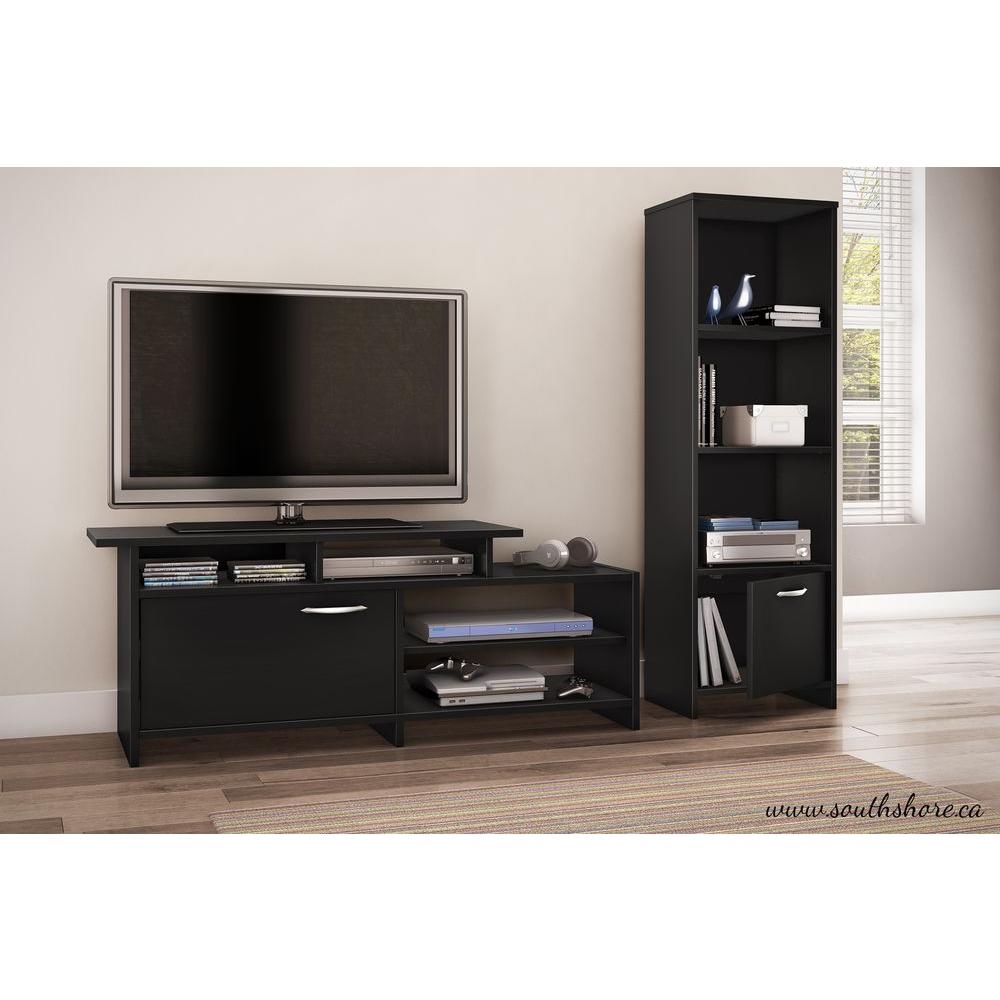 South Shore Step One Pure Black Storage Open Bookcase