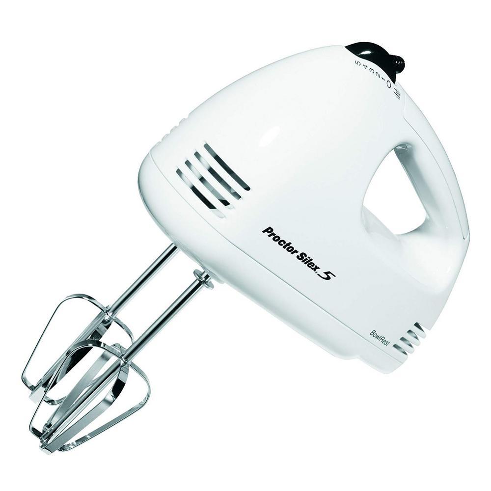 Easy Mix 5-Speed White Hand Mixer