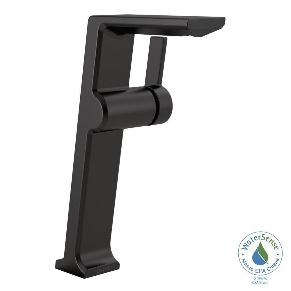 Pivotal Single Hole Single-Handle Vessel Bathroom Faucet in Matte Black