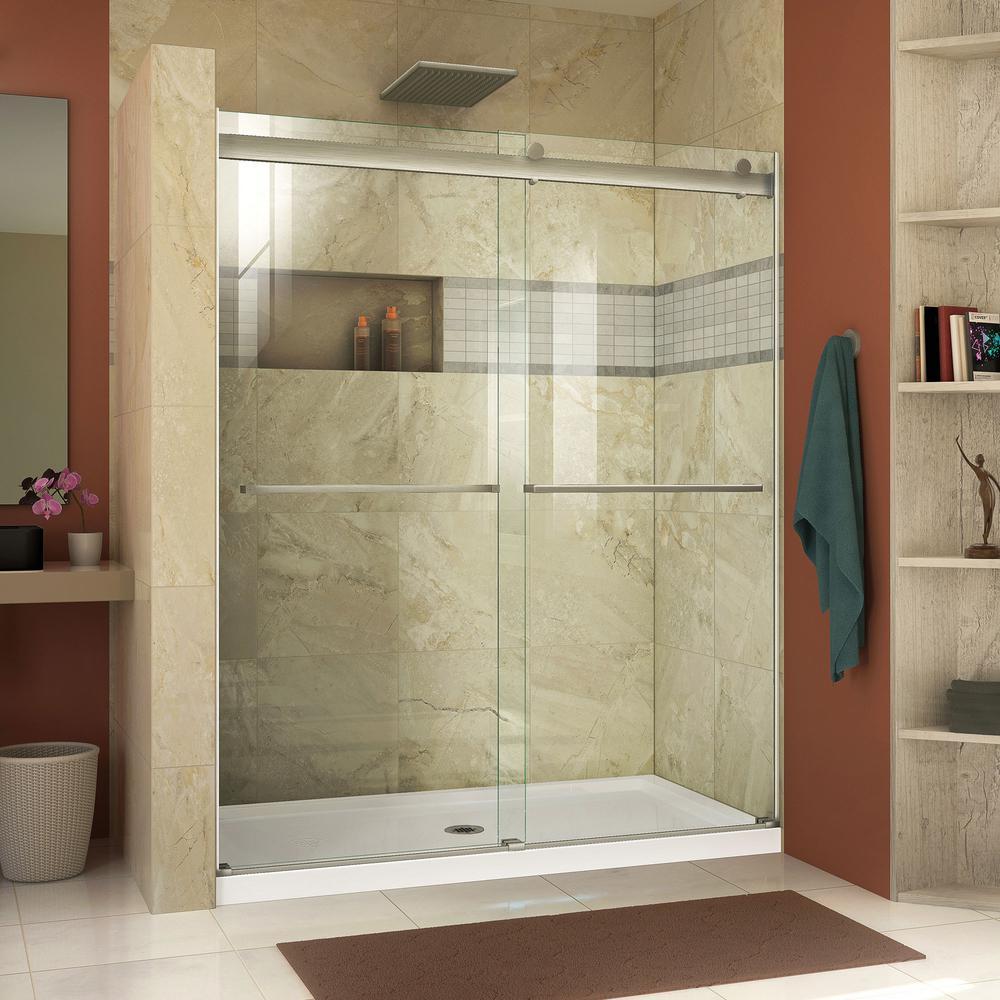 Essence 44 in. to 48 in. x 76 in. Semi-Frameless Sliding Shower Door in Brushed Nickel