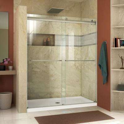 essence 56 to 60 in x 76 in semi frameless sliding shower door in brushed nickel