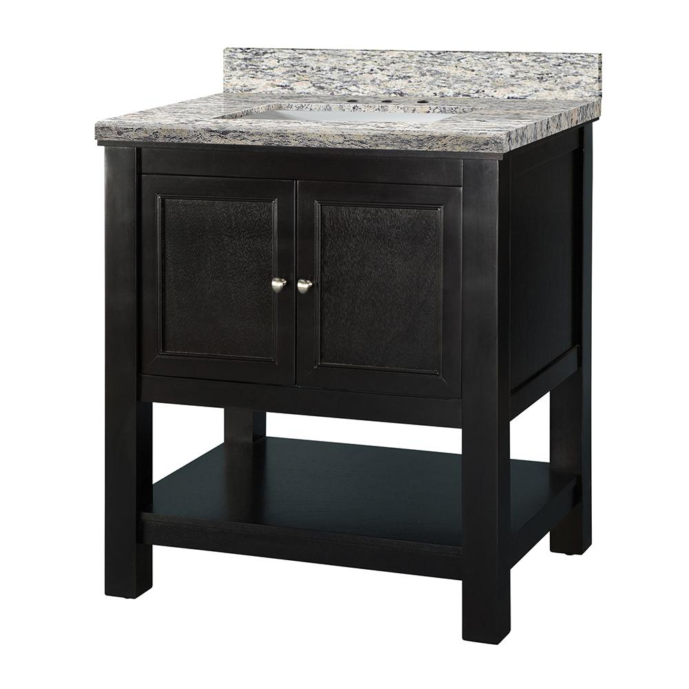 Home Decorators Collection Gazette 31 in. W x 22 in. D Vanity in Espresso with Granite Vanity Top in Santa Cecilia with White Sink was $846.0 now $592.2 (30.0% off)