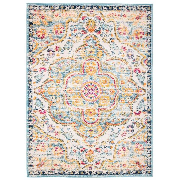 Distressed Vintage Bohemian 3 ft. 3 in. x 5 ft. Blue Area Rug