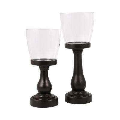 Danbury 14 in. and 11 in. Espresso Wood and Clear glass Candle Holders (Set of 2)