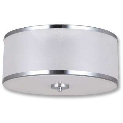 Portland Collection 2-Light Chrome Flush Mount 2 Bulbs