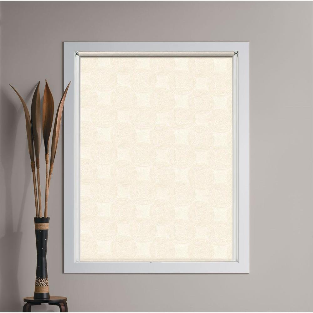 Bali Cut-to-Size Vanilla Swirl Cordless Decorative Room Darkening Vinyl Roller Shade - 24.75 in. W x 72 in. L
