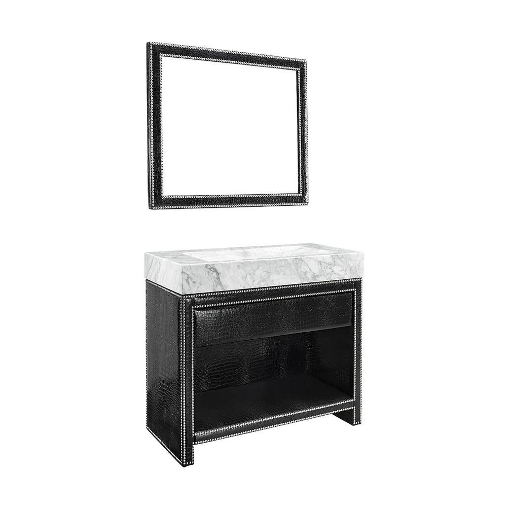 Luxe Axel 40 in. Vanity in Black Faux Alligator with Marble Vanity Top in Carrara and Mirror