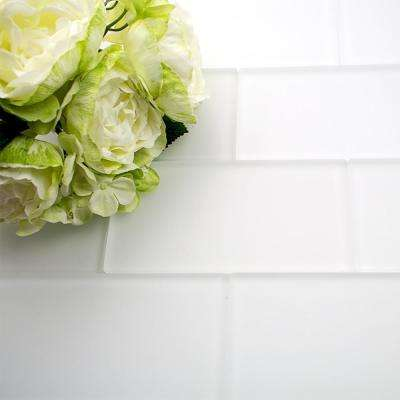 Contempo 3 in. x 6 in. Bright White Frosted Glass Tile